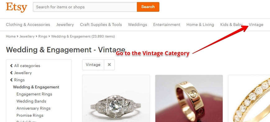 buying a vintage ring on etsy