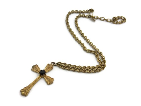 vintage cross necklace by miriam haskell