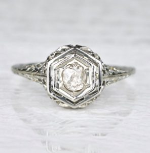 Art Deco Filigree Hexagon Diamond Engagement Ring - Red Ginger Jewelry Co.