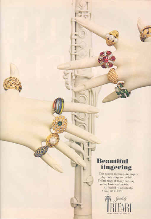 trifari cocktail rings ad