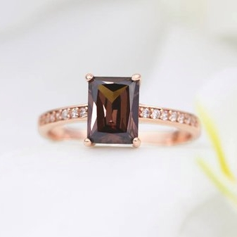 Bronze Copper Stone Ring in Rose Gold by Trove Company on Etsy