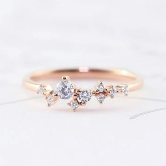 Dainty Scattered Ring Sterling Silver Rose Gold by Trove Company on Etsy