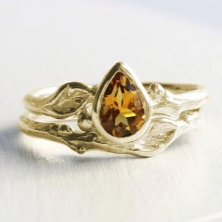 Gold Twig Pear Citrine Ring by Every Bear Jewel