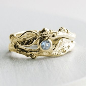 Gold and Aquamarine Twig Ring Set by Every Bear Jewel