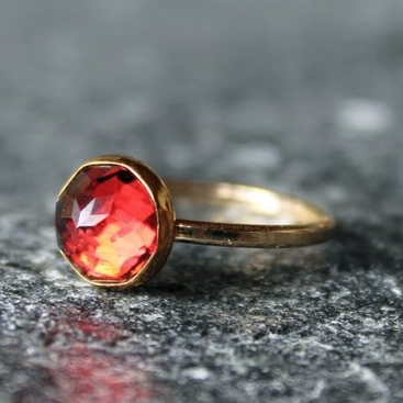 Red Almandine Rose Cut Garnet Ring by The Spiral River on Etsy