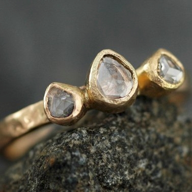 Rose Cut White Diamond Trio on Recycled Gold by Specimental on Etsy