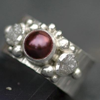 Rough Diamond and Japanese Saltwater Pearl Engagement Band by Specimental on Etsy