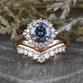 Round Grey Moissanite Engagement Ring & Crown Wedding Band Set by Sapheena on Etsy