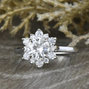 Round Halo Forever One Moissanite Engagement Ring in 14k White Gold by Sapheena on Etsy
