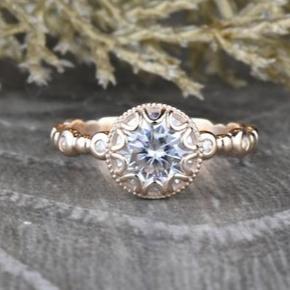 Round Moissanite Engagement Ring in 14k Rose Gold by Sapheena on Etsy