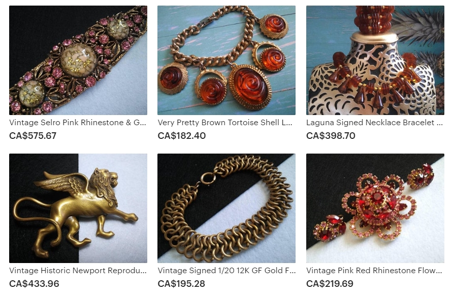 Example of the Vintage Jewels & Treasures Available at Martini Mermaid on Etsy