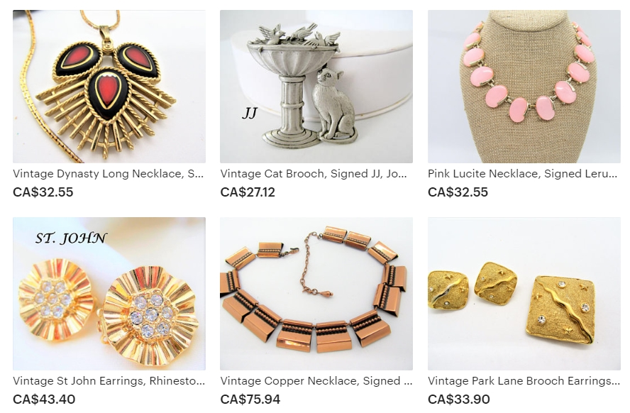Examples of Affordable Antique and Estate Vintage Jewelry Available at Vintage Obsessions on Etsy