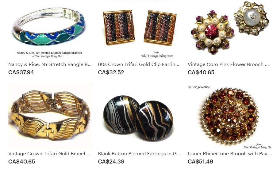 Examples of Vintage Designer & Collectible Costume Jewelry Available at The Vintage Bling Box on Etsy