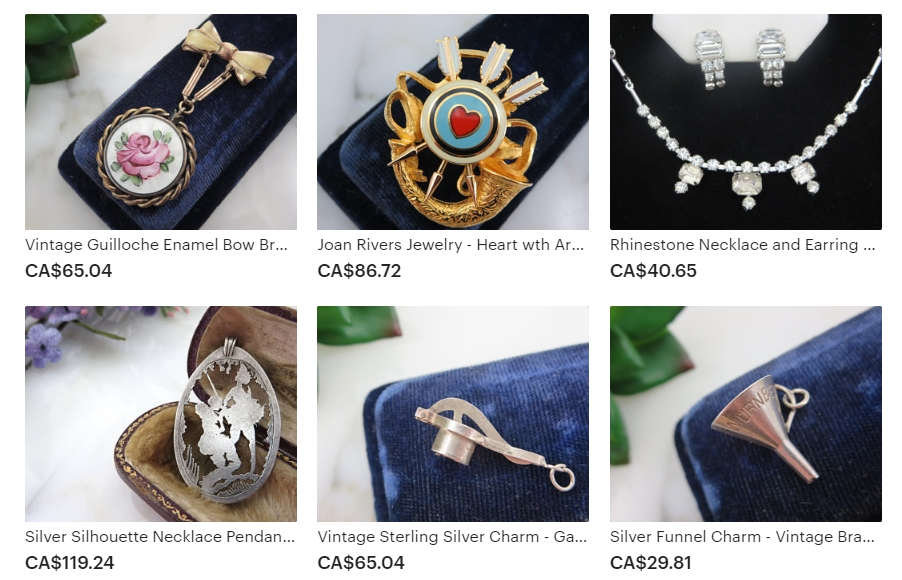 Examples of Vintage Jewelry Treasures & Pretty Little Things by Vintage In Bloom on Etsy