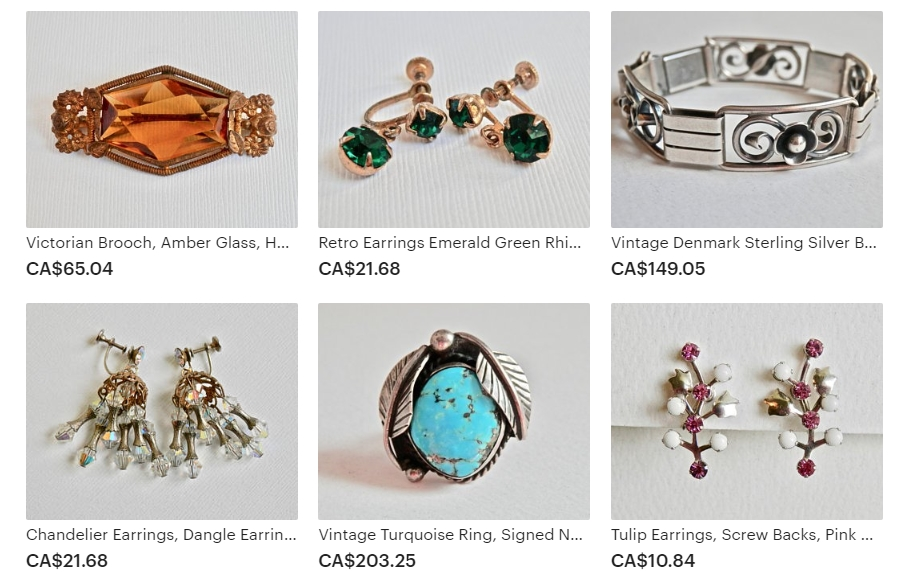Examples of the Fine Vintage Sterling Silver & Costume Jewelry Sold by TheJewelryChain on Etsy