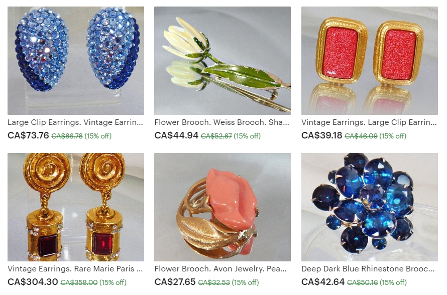 Examples of the Lovely Vintage Jewelry Available at Waalaa on Etsy