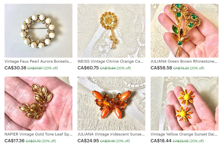 Examples of the Vintage Jewelry Available at From The Vanity on Etsy