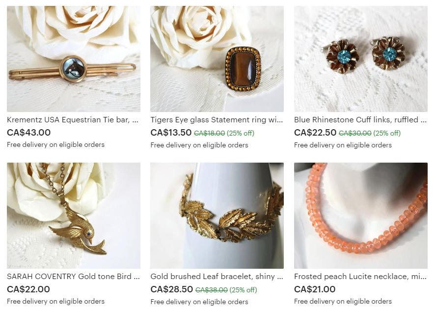 Examples of the Exquisite Vintage Jewelry by Shimmer Tree Vintage on Etsy