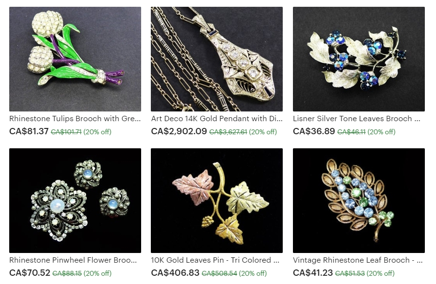 Examples of the Sparkling Vintage Jewelry Available at The Jewel Seeker on Etsy