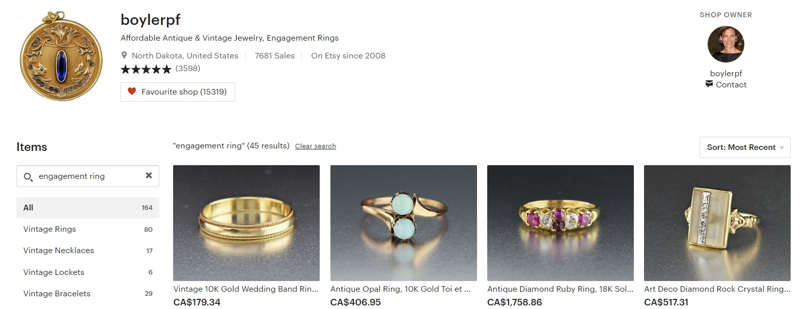 Affordable Vintage Engagement Rings by boylerpf on Etsy