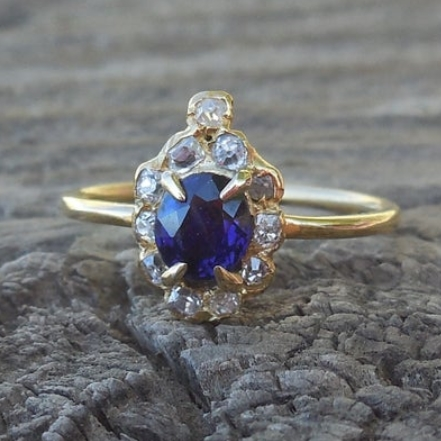 Antique Blue Sapphire Engagement Ring Old Mine Cut Diamond