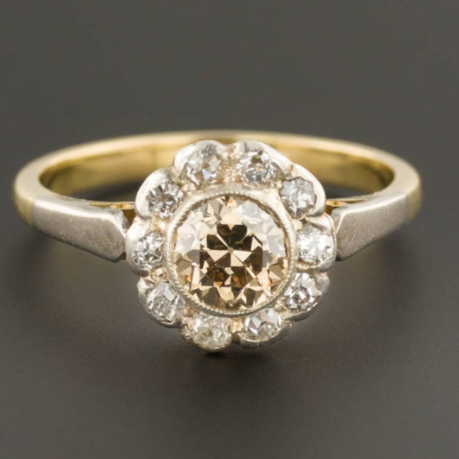 Antique Champagne Diamond Ring 18k Gold