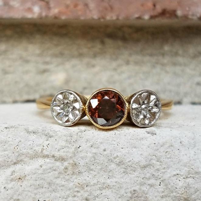 Antique Cognac Diamond Trilogy Ring in 18k Gold