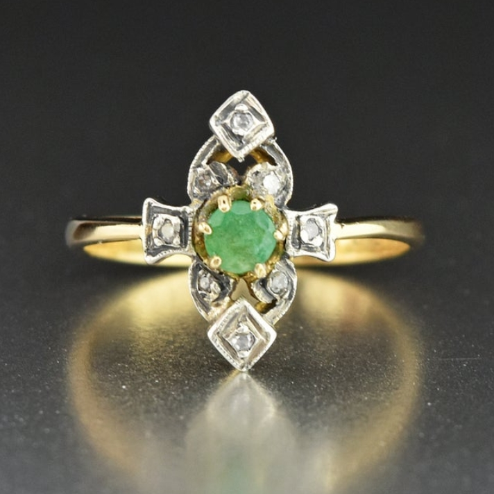 Antique Diamond Emerald Engagement Ring 18K Gold Solitaire