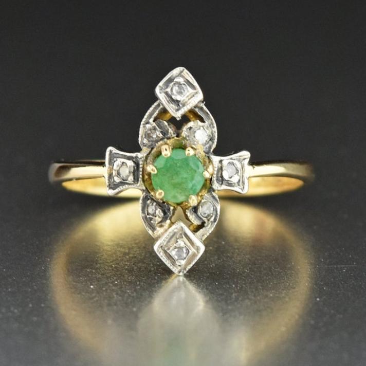 Antique Diamond Emerald Engagement Ring 18K Gold Solitaire
