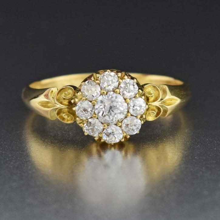 Antique Diamond Engagement Ring 18K Gold Diamond Cluster