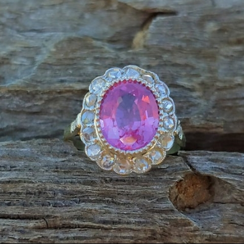 Antique Pink Sapphire Rose Cut Diamond Engagement Ring