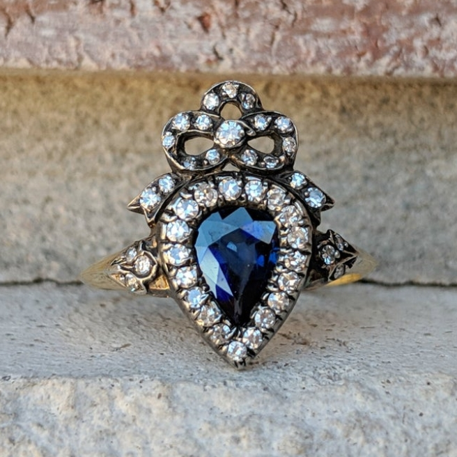 Antique Sapphire Diamond Crown Heart Ring