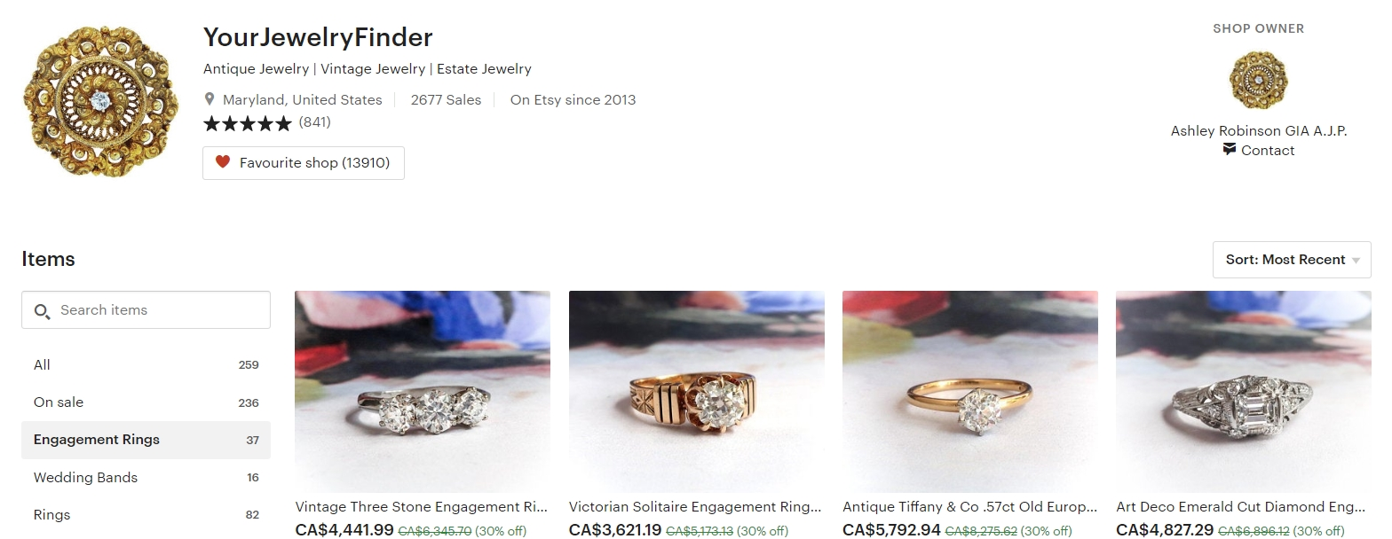 Antique and Vintage Engagement Rings by YourJewelryFinder on Etsy