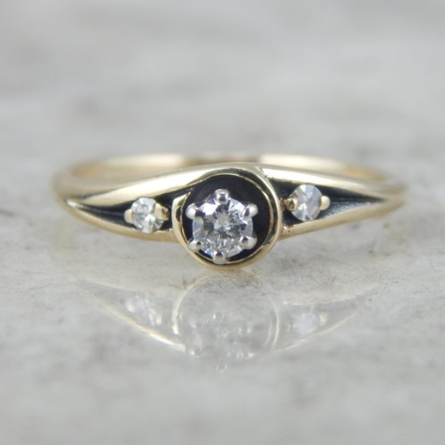 Mid Century Diamond Engagement Ring with Antique Patina