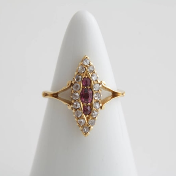Navette ruby and diamond ring
