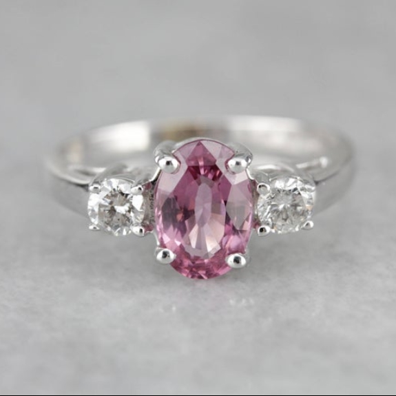 Pink Sapphire Diamond White Gold Engagement Ring