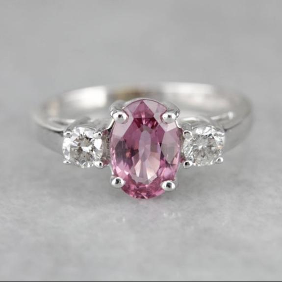 Pink Sapphire Diamond White Gold Engagement Ring