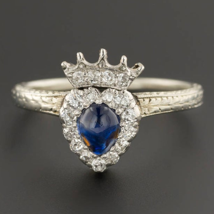 Sapphire & Diamond Crowned Heart Ring 18k White Gold