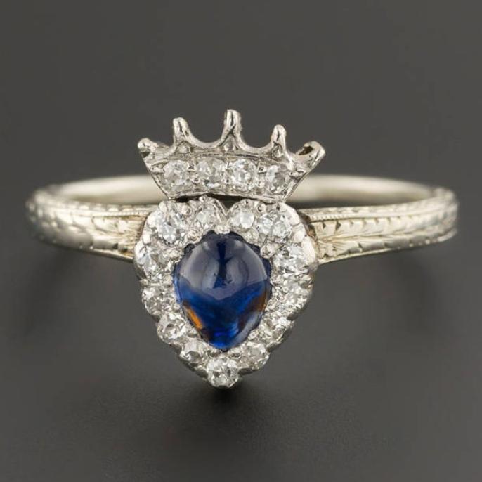 Sapphire & Diamond Crowned Heart Ring 18k White Gold