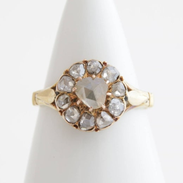 Victorian diamond cluster halo ring