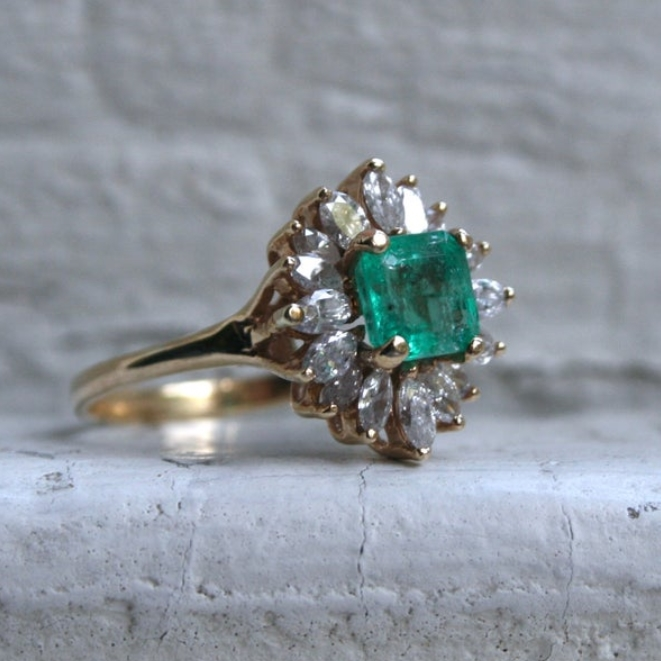 Vintage 14K Yellow Gold Diamond and Emerald Halo Ring