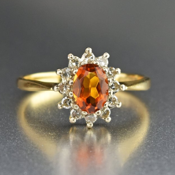 Vintage 18K Gold Diamond Halo Citrine Ring