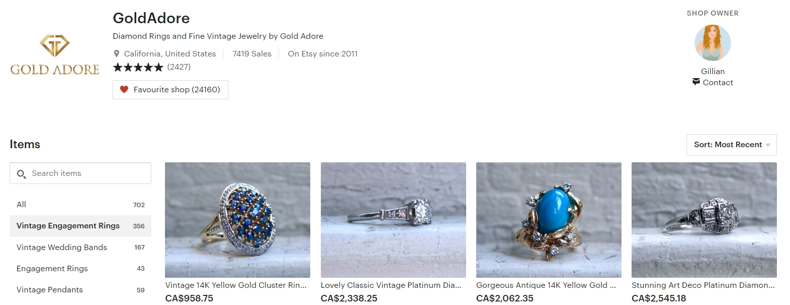 Vintage Engagement Rings by Gold Adore on Etsy