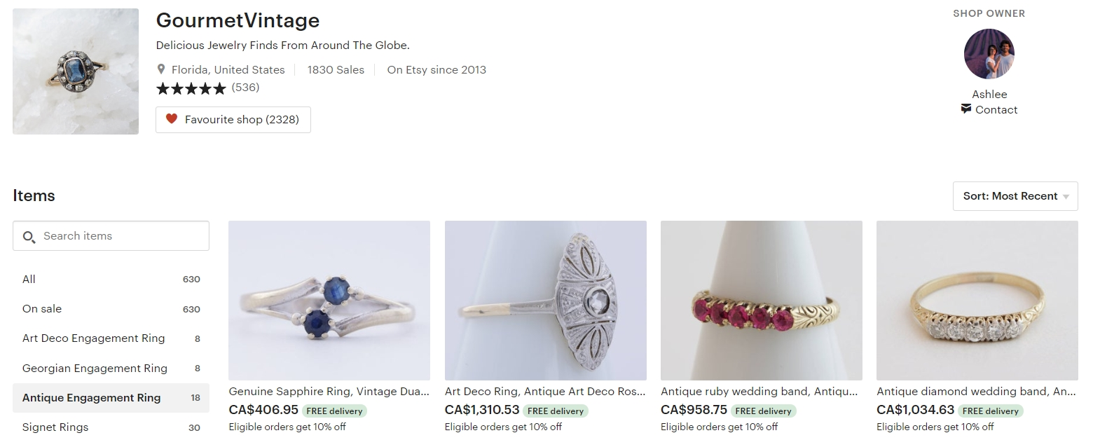Vintage Engagment Rings by GourmetVintage on Etsy