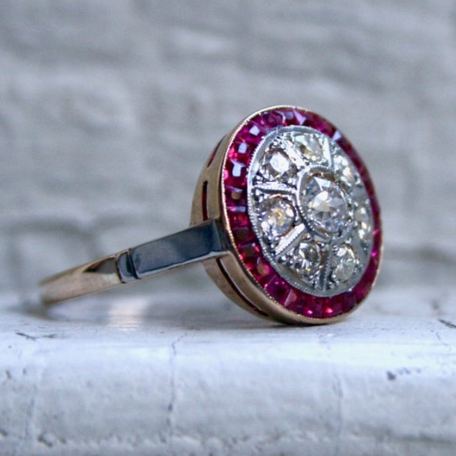 Vintage Halo 18K Yellow Gold Diamond and Ruby Ring Engagement Ring