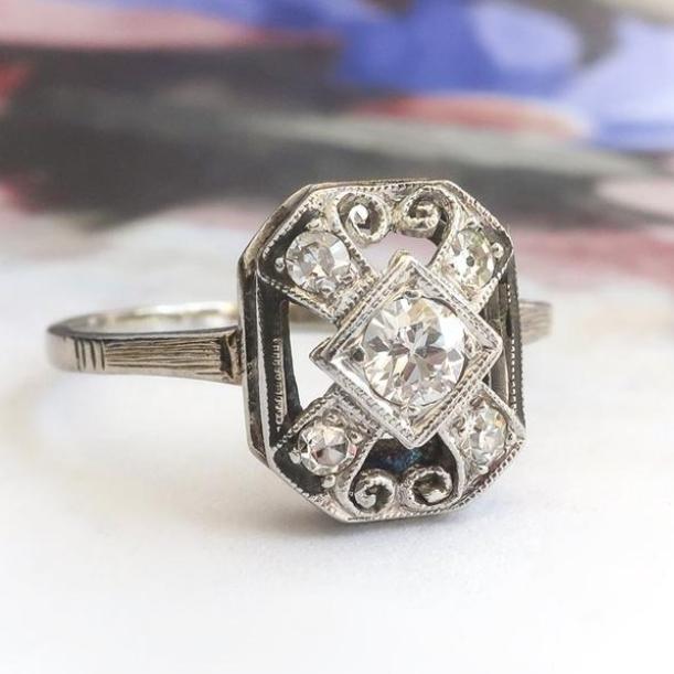 White Gold Vintage Art Deco Diamond Filigree Ring