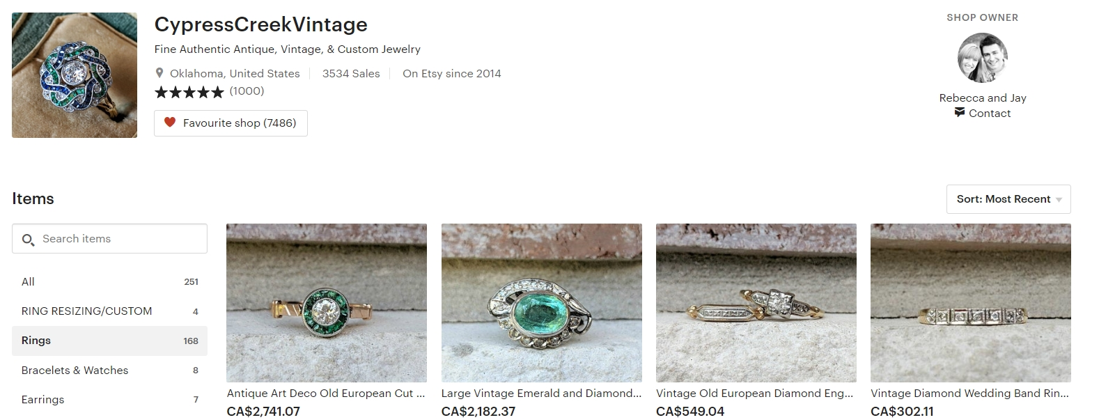 vintage engagement rings by CypressCreekVintage on Etsy