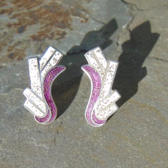 Margot de Taxco Vintage Sterling and Purple Earrings