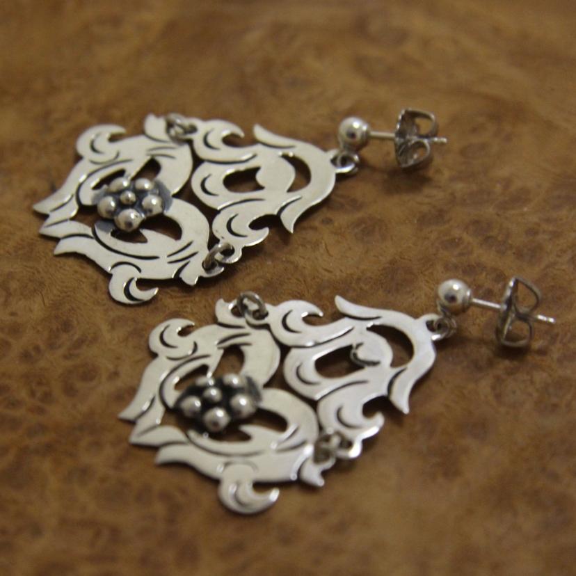 Mexican Ornate Silver Dangle Earrings