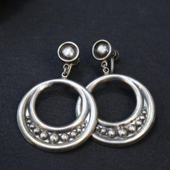 Sterling Silver Mexican Screw Back Dangle Hoop Earrings